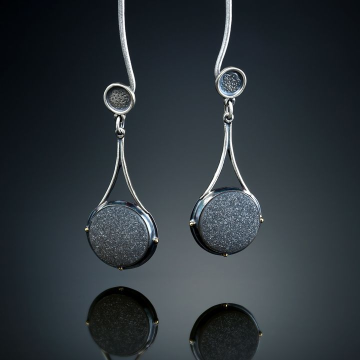 Black Druzy Quartz Earrings. Fabricated Sterling Silver