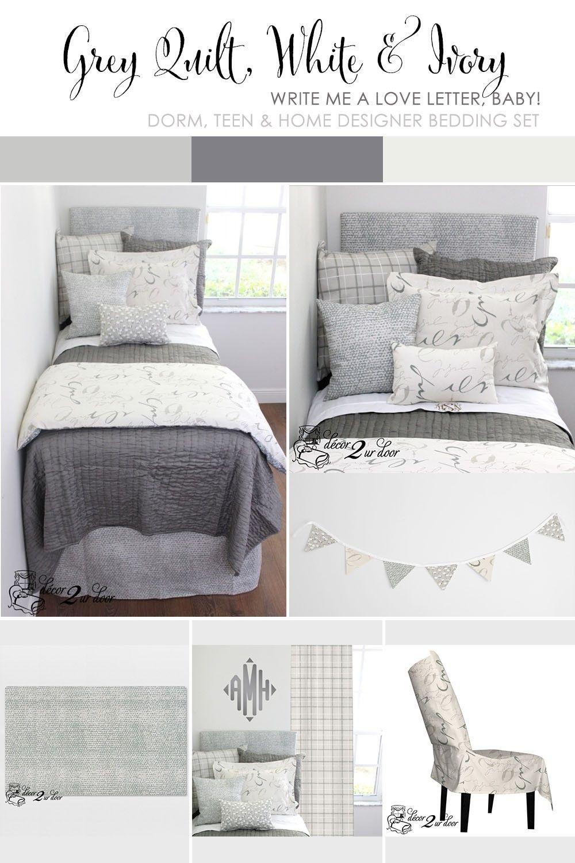 Grey, White & Ivory Dorm & Teen Designer Bedding Set ...