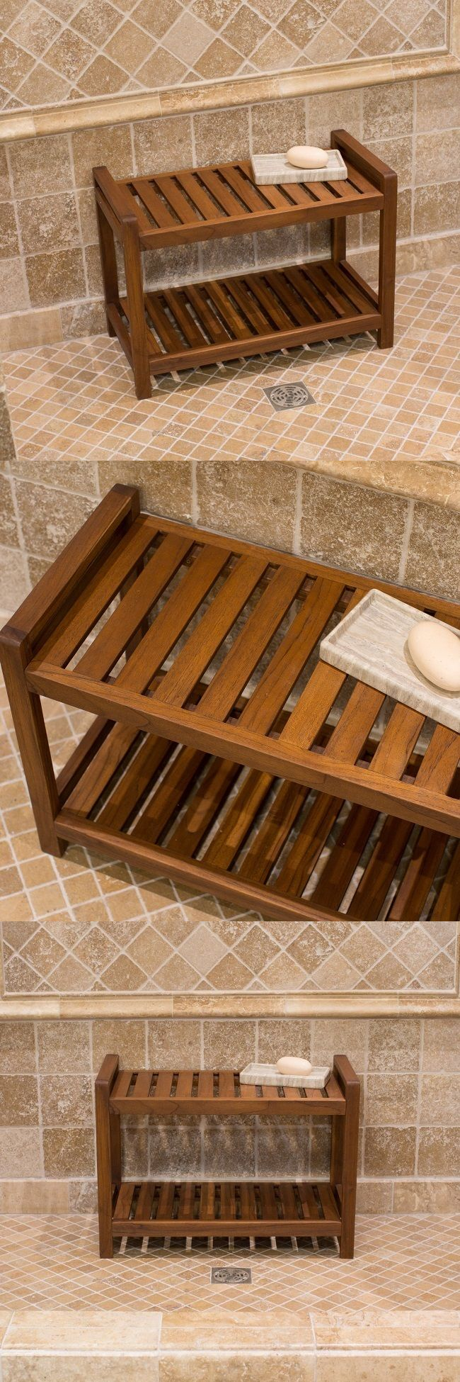 Shower and Bath Seats: Teak Shower Bench With Shelf Wood Seat ...