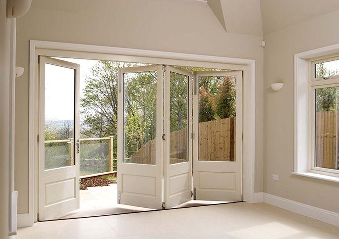 White Timber Bifold Doors Internal Open Beach Home