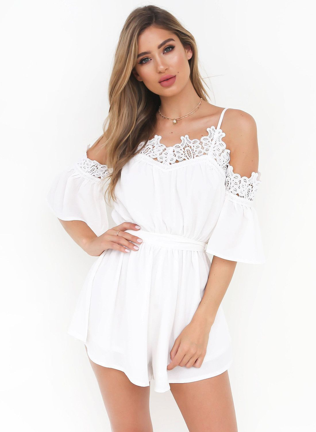 ed7572762111 Spaghetti Strap off Shoulder Lace Romper