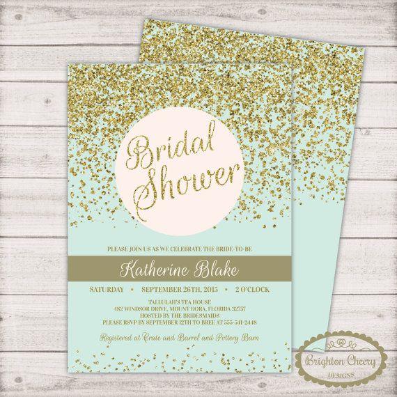 mint green bridal shower invitation free back gold glitter sparkle confetti invite printable invitation 5x7