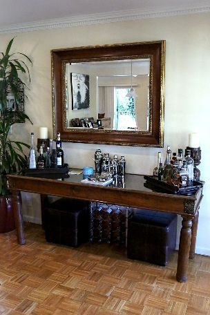 Brandi Glanville's (RHOBH) elegant home bar area.