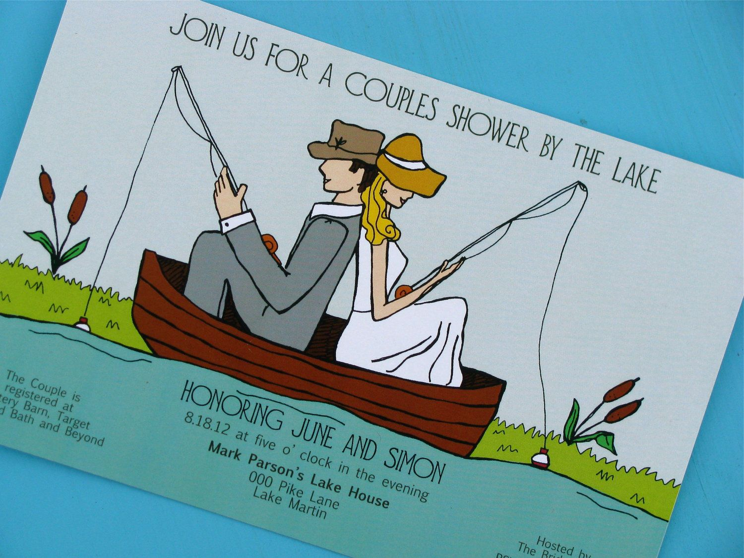 Vintage couples wedding shower by the lake invitation | Shower ...