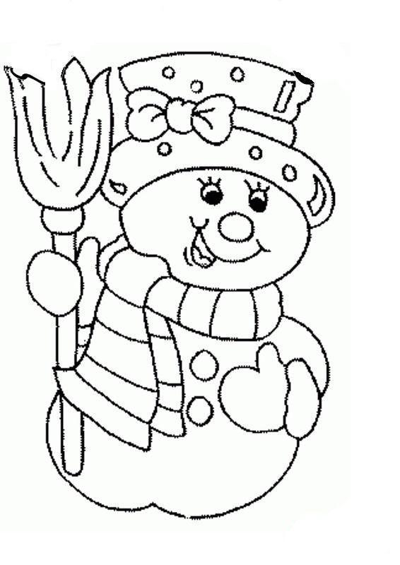 Картинка снеговиков для раскрашивания