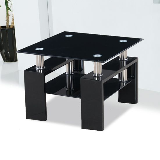Best Kontrast Black Glass Side Table With High Gloss Legs 640 x 480