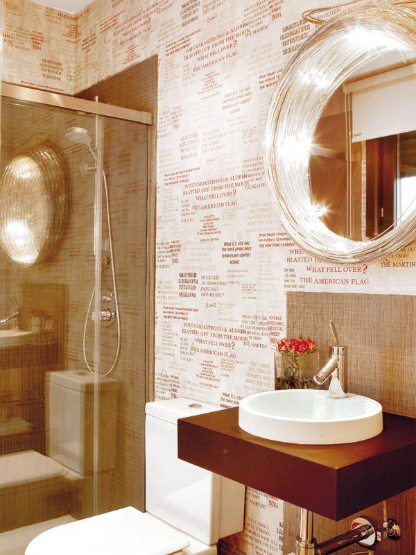 Ba os con acabados originales cuartos de ba o bathrooms decoraci n de unas ba os y - Papel pintado para recibidores ...