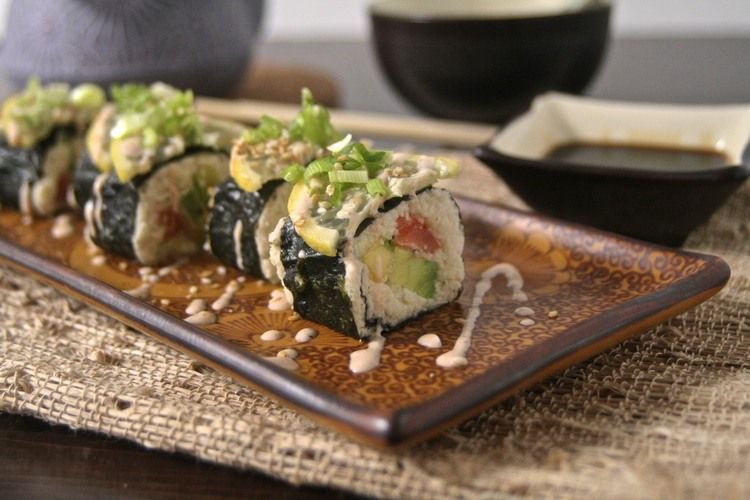 Cauliflower rice mango avocado sushi omit fish for vegan