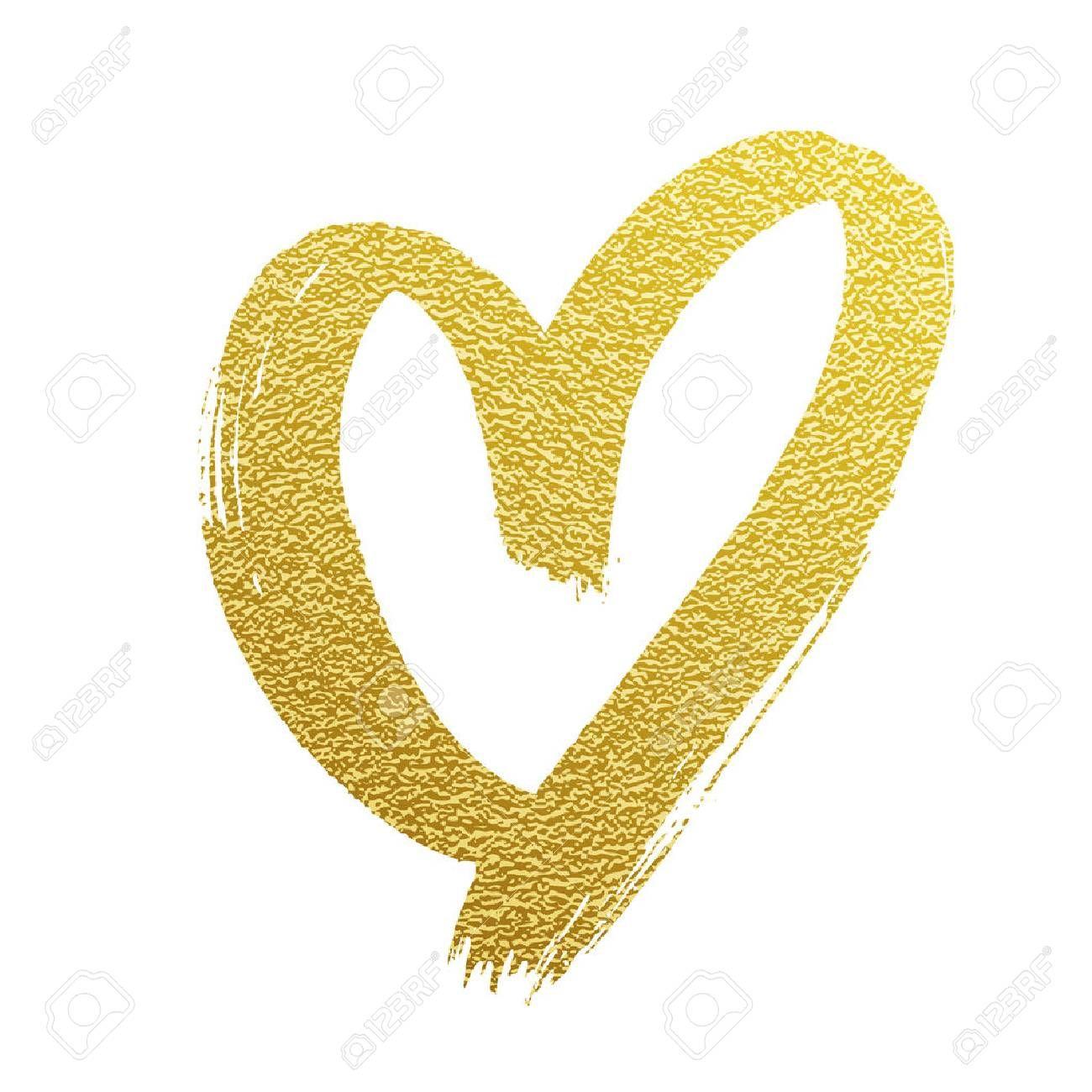 Valentine golden glitter heart vector hand drawn icon on