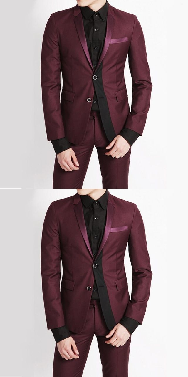 Fashionable Burgundy And Black Splicing Suits 2017 Best Men Groomsmen Wedding S Party Tuxedos Slim