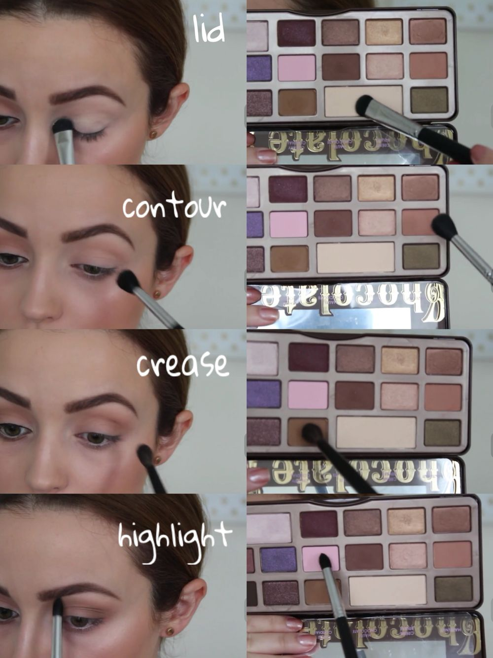neutral eye look, too faced chocolate bar palette | Make-up ...