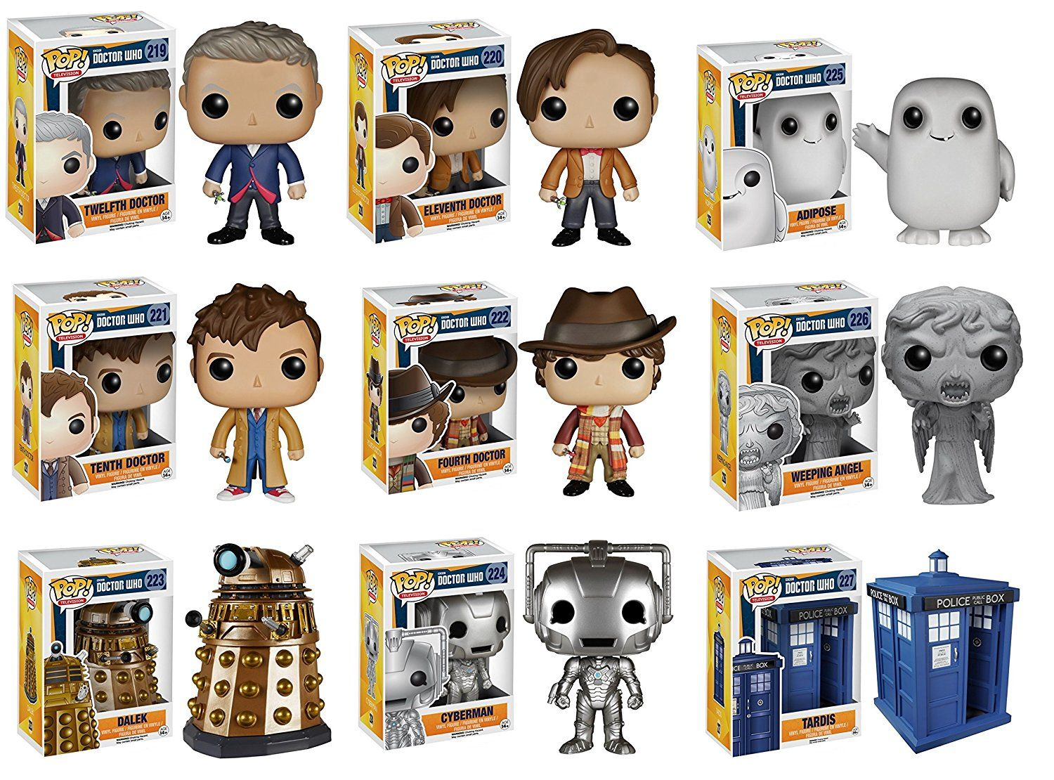 Amazon Com Funko Doctor Who Dr 10 Dr 11 Dr 12 Dr 4 Adipose Cyberman Dalek Weeping Angel And 6 Tardis Vinyl Pop Act Vinyl Figures Funko Doctor Who