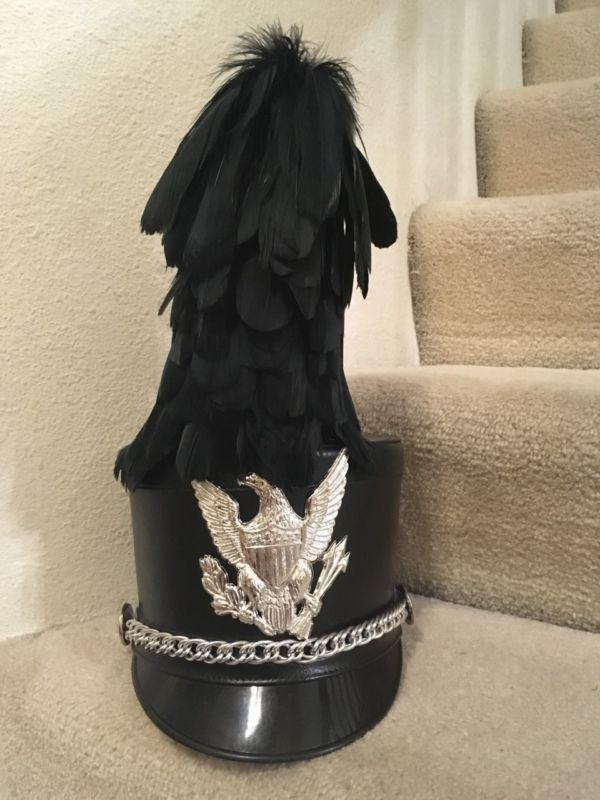 BAYLY BLACK MARCHING BAND HAT ELITE SHAKO W  PEACE EAGLE AND PLUME  SMALL!!!!!!!!  peace  eagle  plume  small  shako  elite  black  marching   band  bayly 740c4be37a6