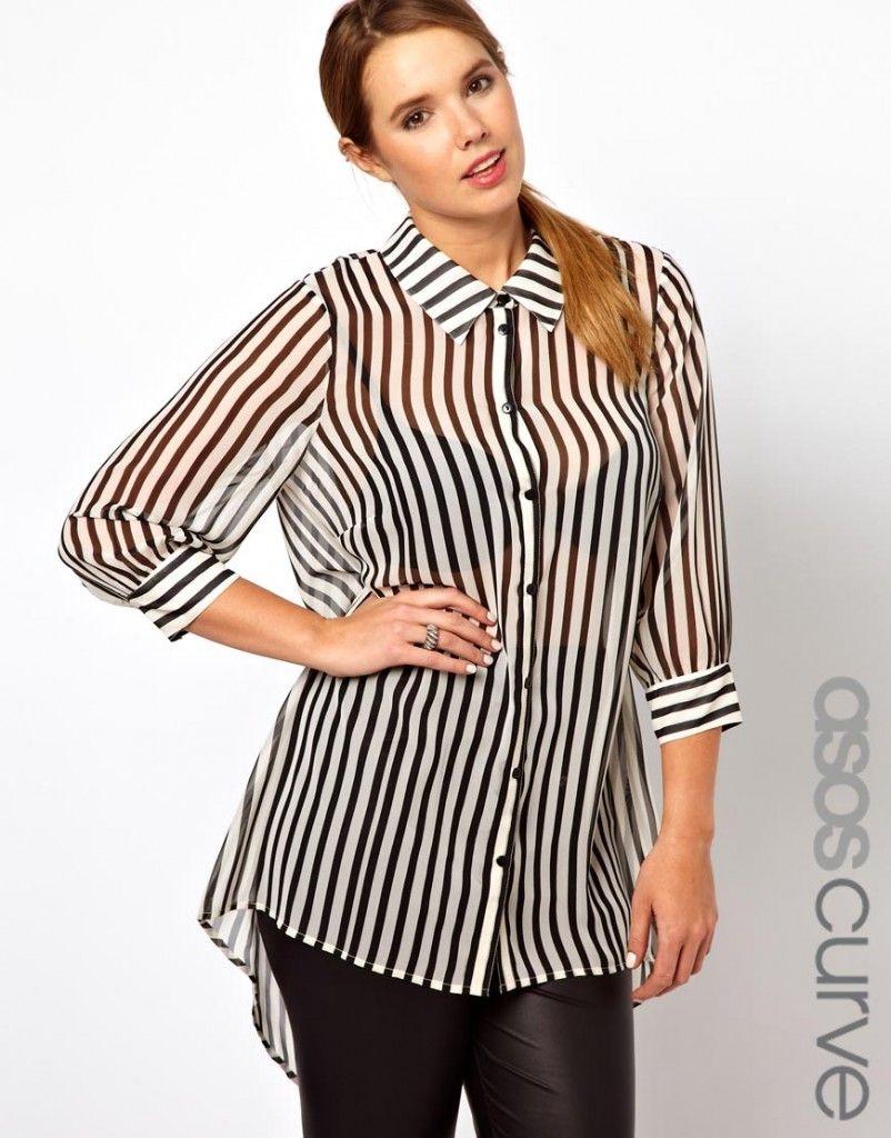 0ff96b2bac camisa mujer gorditas asos rayas
