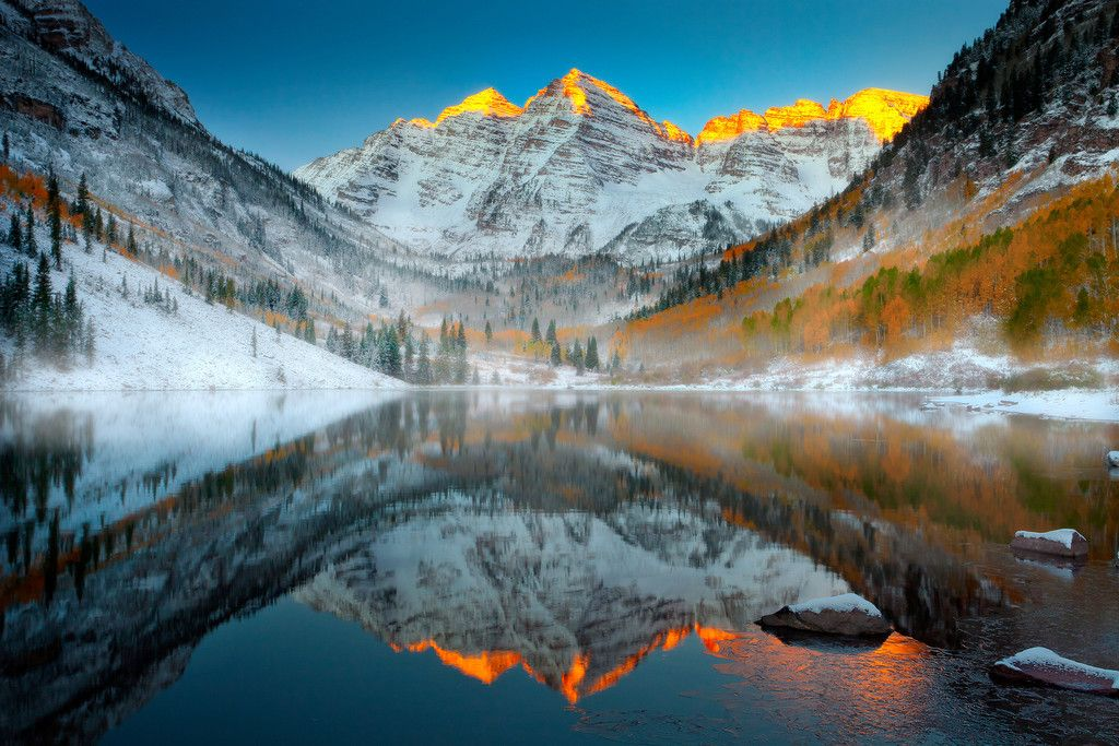 Maroon Bells Sunrise In Winter Maroon Bells Wilderness