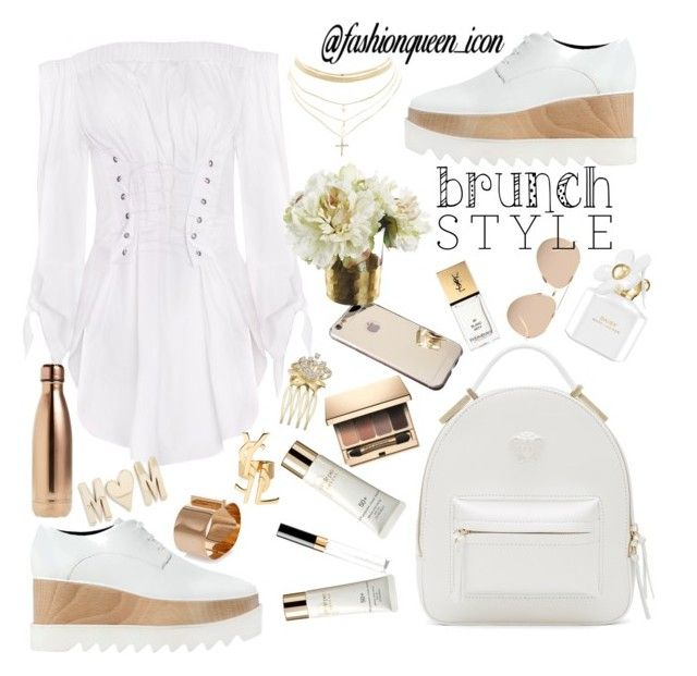"""""""Let's have brunch"""" by fashionqueenicon on Polyvore featuring STELLA McCARTNEY, Versace, Clarins, Chanel, Clé de Peau Beauté, Yves Saint Laurent, Marc Jacobs, Linda Farrow, S'well and Dsquared2"""