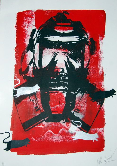 BLEK LE RAT - MASK WITH RAT ON RED - http://www.widewalls.ch/artwork/blek-le-rat/mask-with-rat-on-red/ #WorkOnPaper