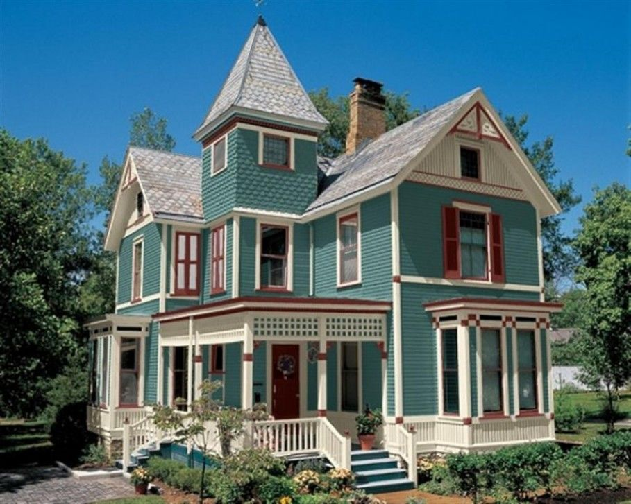 fetching house exterior design. House  Exterior Gorgeous Cyan Paint Color With French Windows