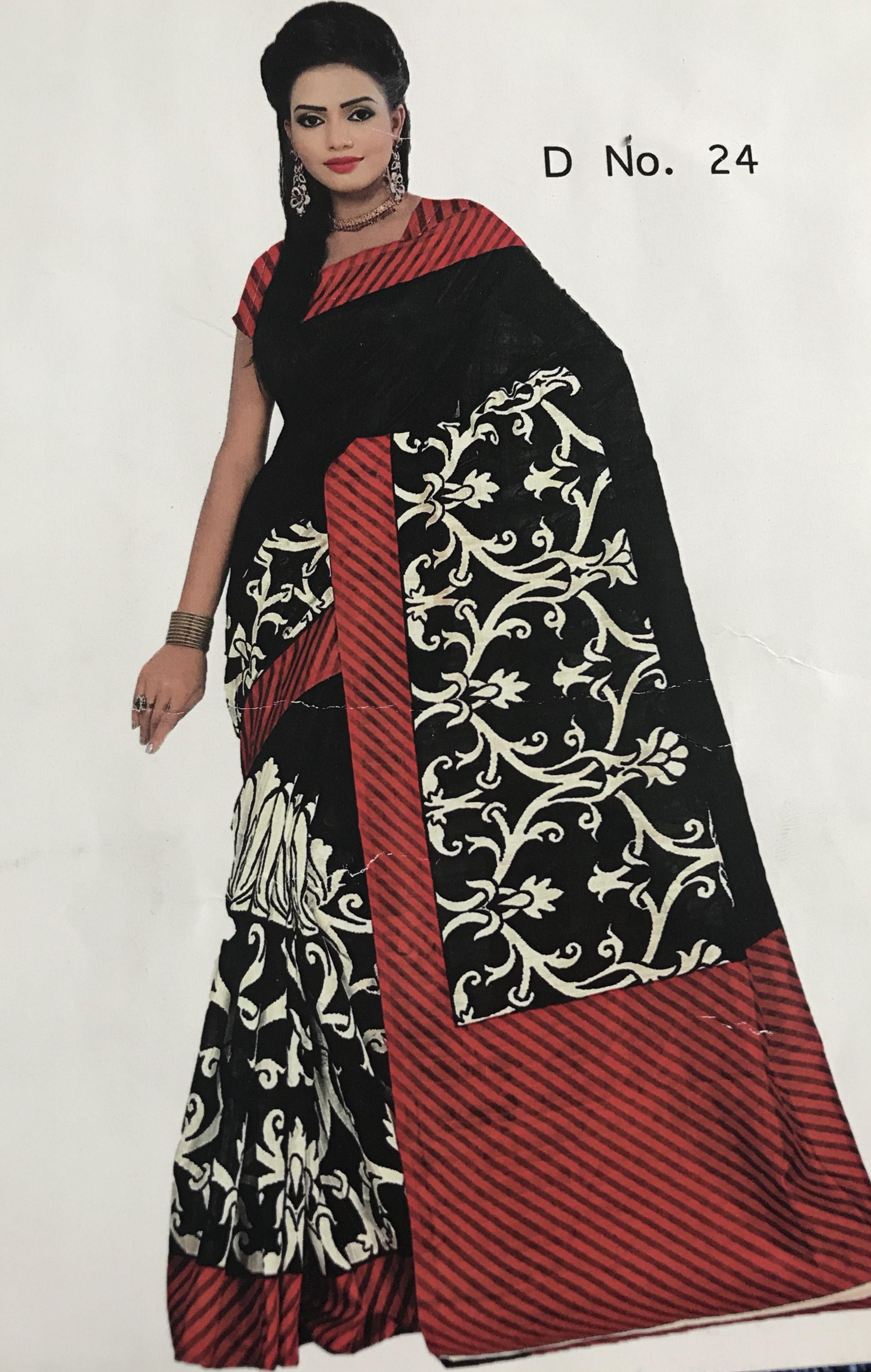 Printed Art Matka Silk Saree in Black, White and Red Art