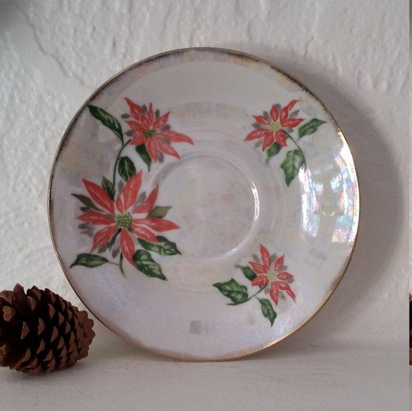 Poinsettia Lusterware Christmas China Saucer Poinsettia Small Plate Japanese Lusterware Ucagco Red Flower Dish by RandomAmazing on Etsy