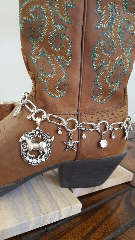 Rhinestone Studded Horseshoe with Horse Boot Bling by HowlingWolvesJewelry on Etsy