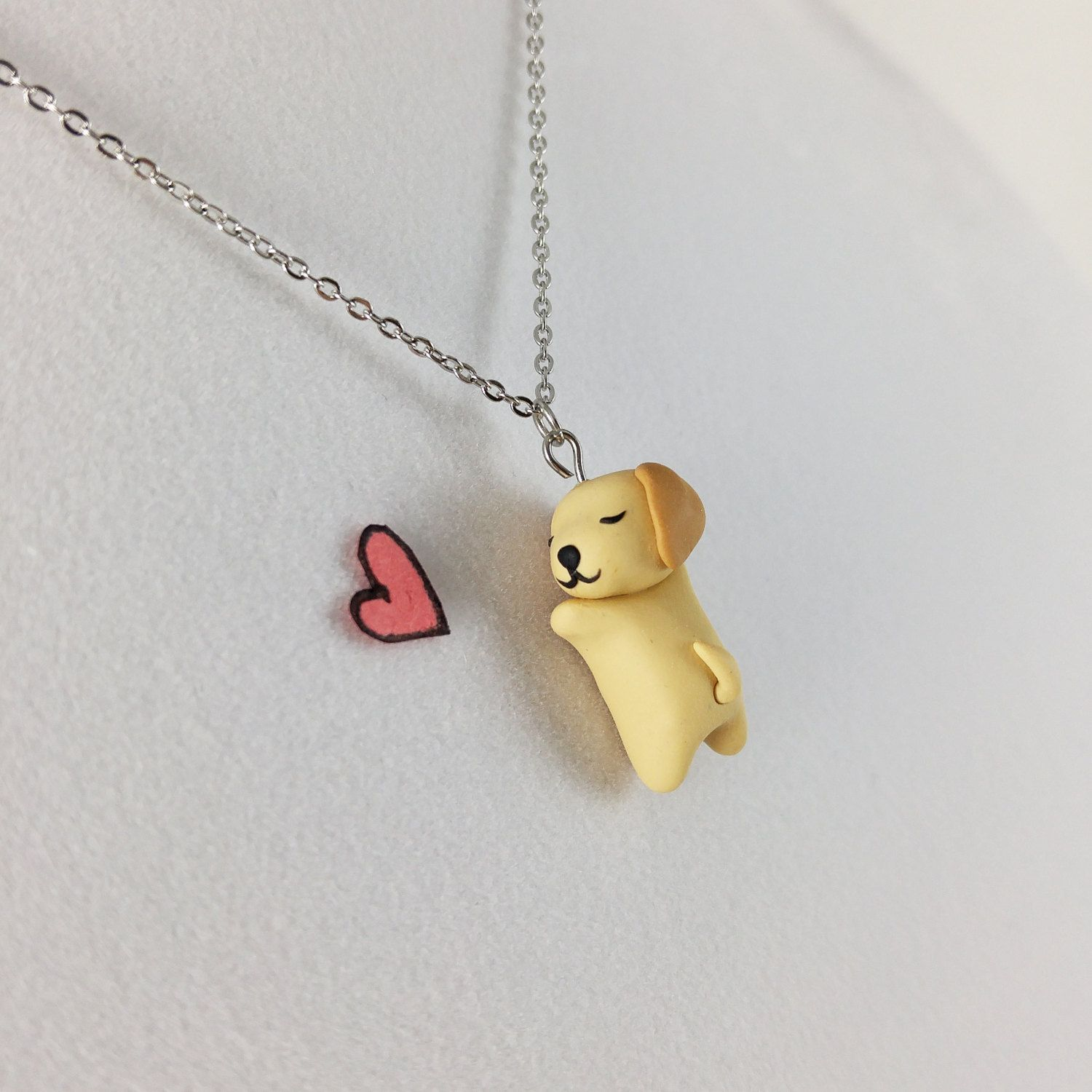 Dog Necklace Polymer Clay Charm Necklace Golden Retriever