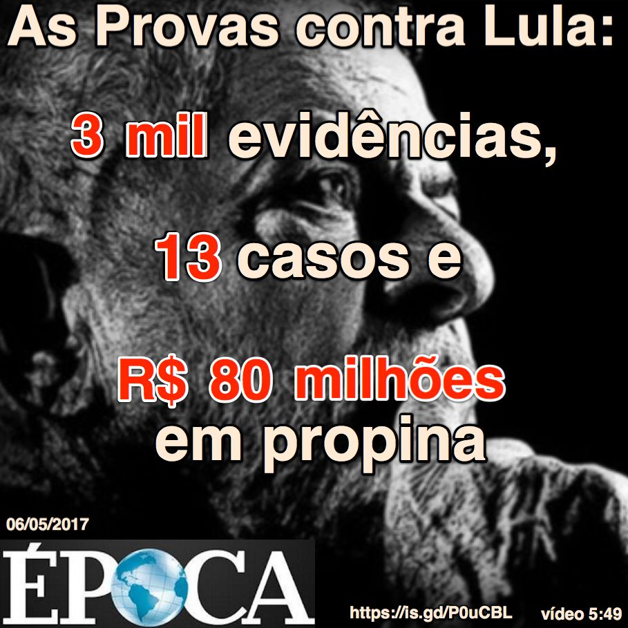 Resultado de imagem para As provas contra Lula; 3 mil evidências, 13 casos e R$ 80 milhões em propina