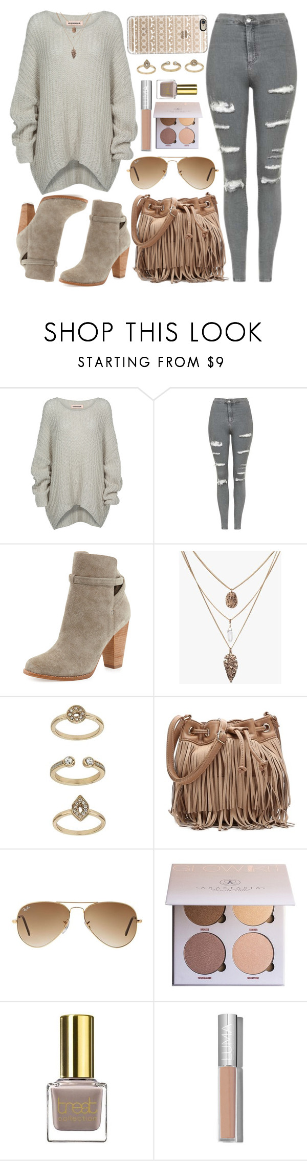 """""""Untitled #4096"""" by natalyasidunova ❤ liked on Polyvore featuring Bodhi, Topshop, Joie, Deux Lux, Ray-Ban, Anastasia Beverly Hills and Casetify"""