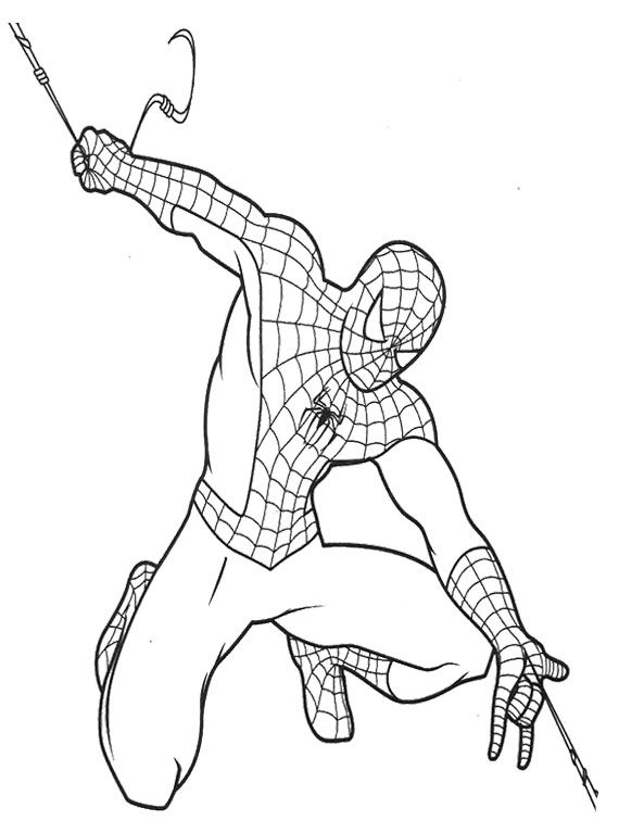 Spiderman pull out strength coloring page