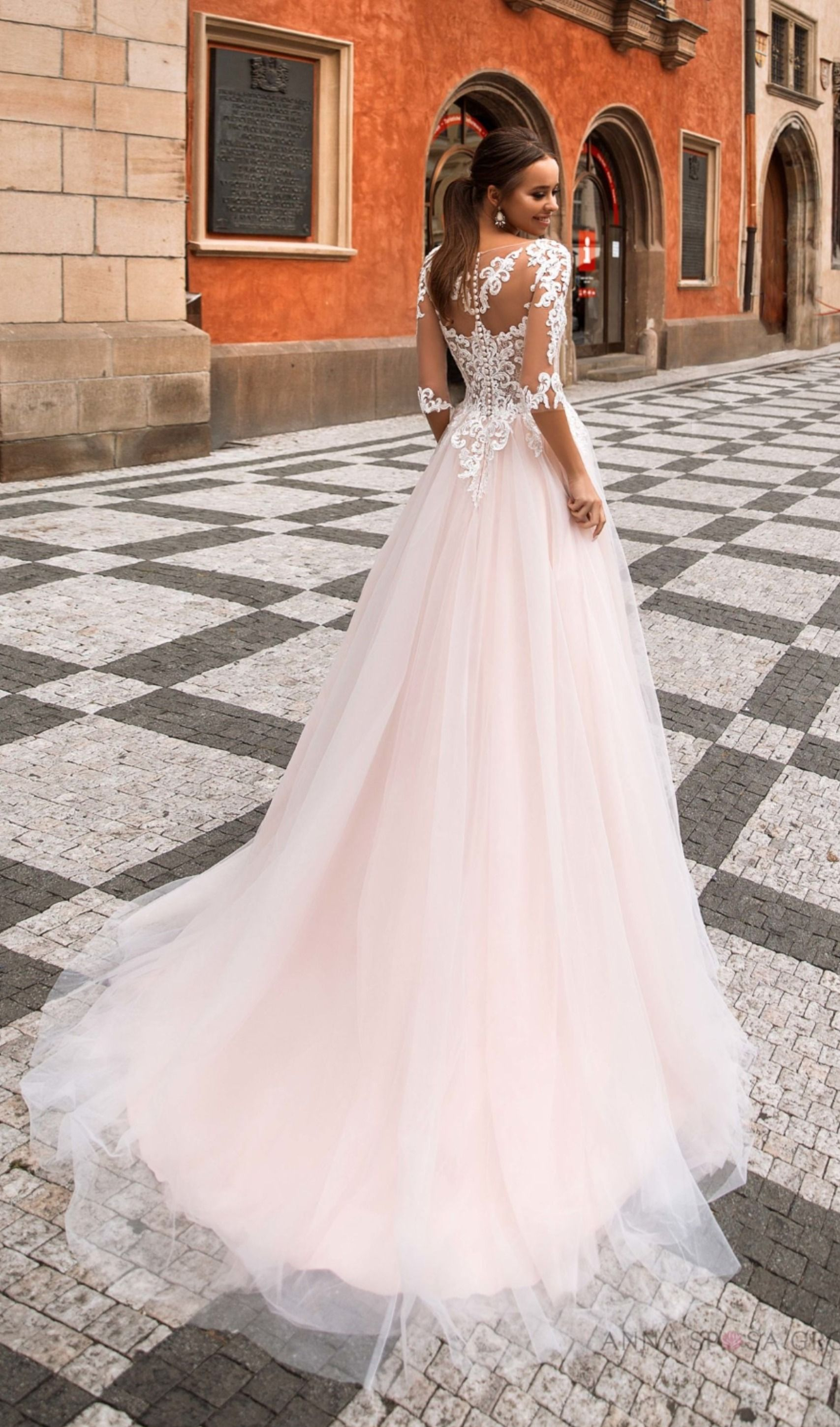 Mikaela Wedding Dress Prague Collection Wedding Dresses Lace Blush Pink Wedding Dress Lace Wedding Dress With Sleeves [ 2899 x 1707 Pixel ]