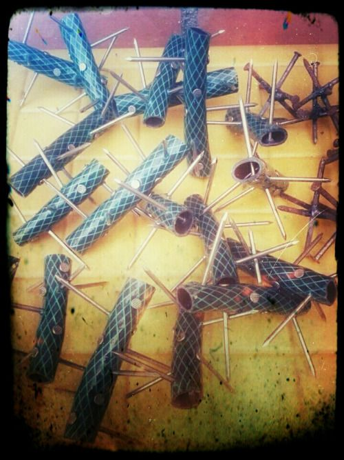 """""""Home made caltrops. Run a cord trough them and you now have a spike strip. Part of the Disruptive Elements class we do down south.""""  Ed"""