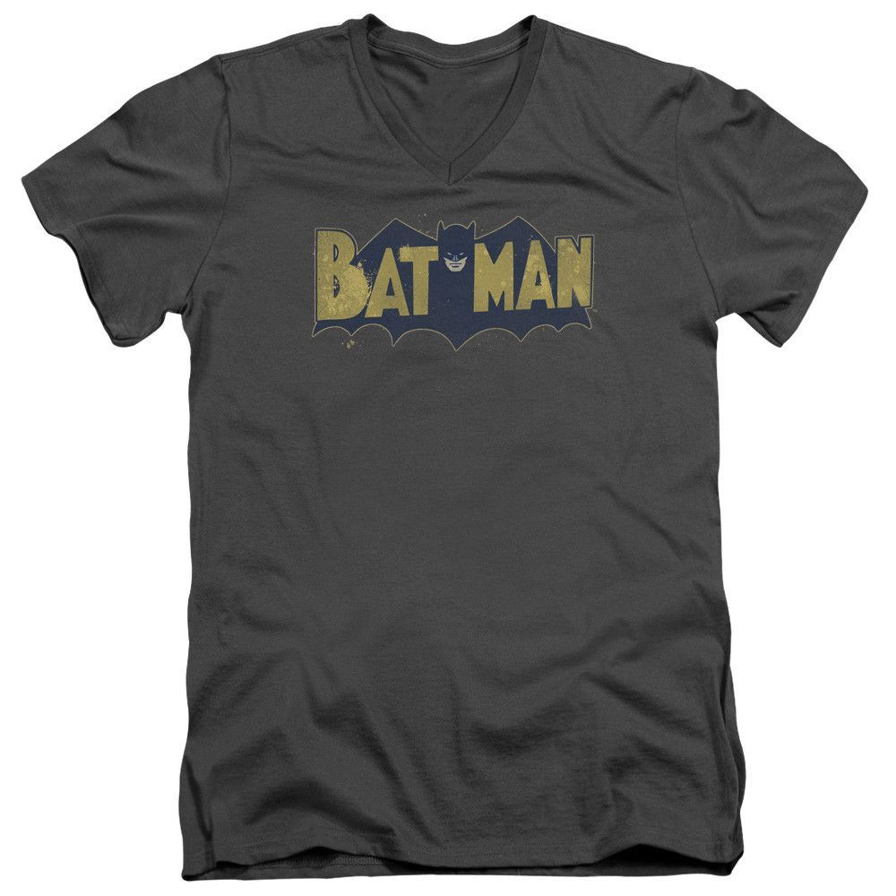 Batmanvintage logo splatter  ss adult vneck  charcoal