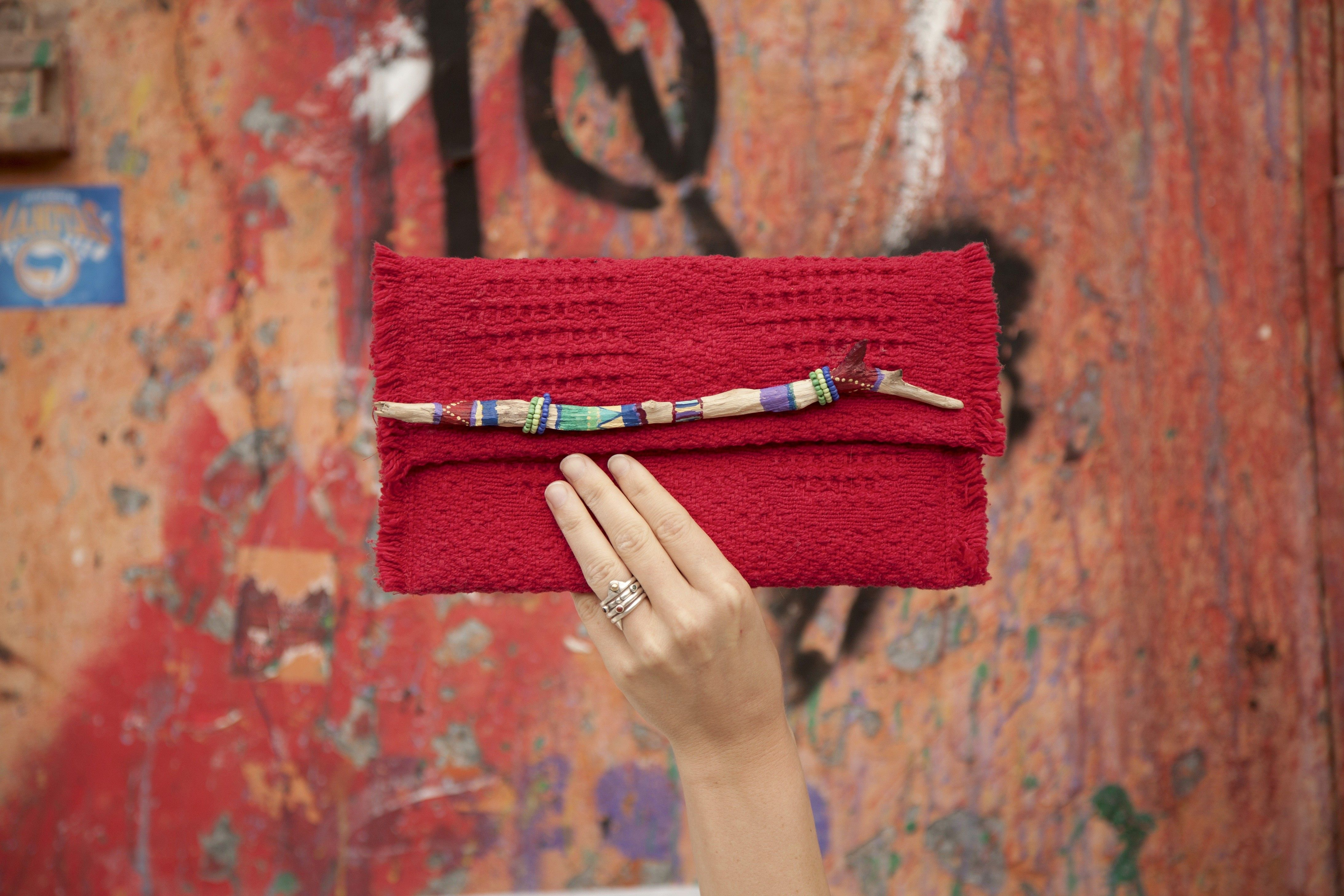 Eco Friendly Ethical Gypsy Pink Red Driftwood Clutch Leotie Lovely