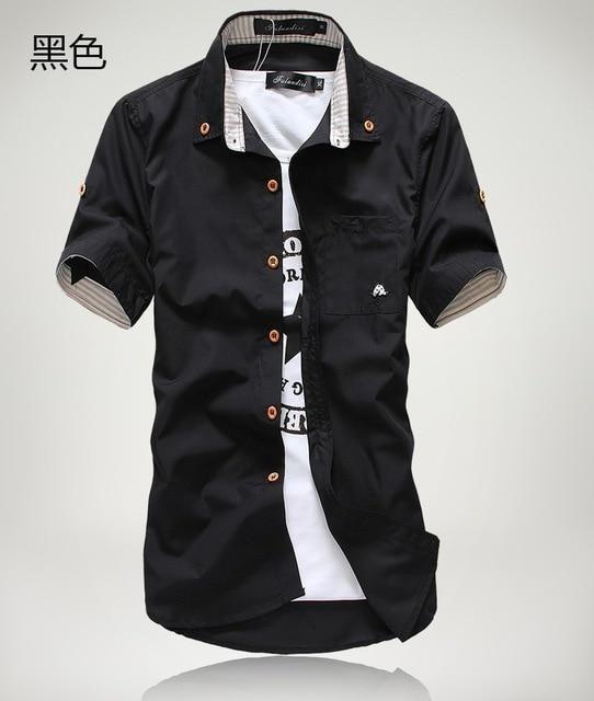 cbb888617 2018 New Arrived Men's Casual Short Sleeve Shirts,Dress Shirt,small  mushroom embroidery stripedresslliy
