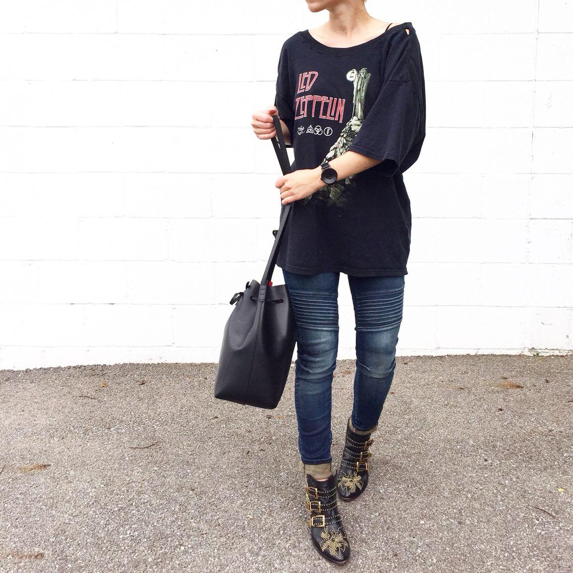 Vintage Zeppelin Shirt. Chloe Boots, Mansur Gavriel Bag. - OVRSLO