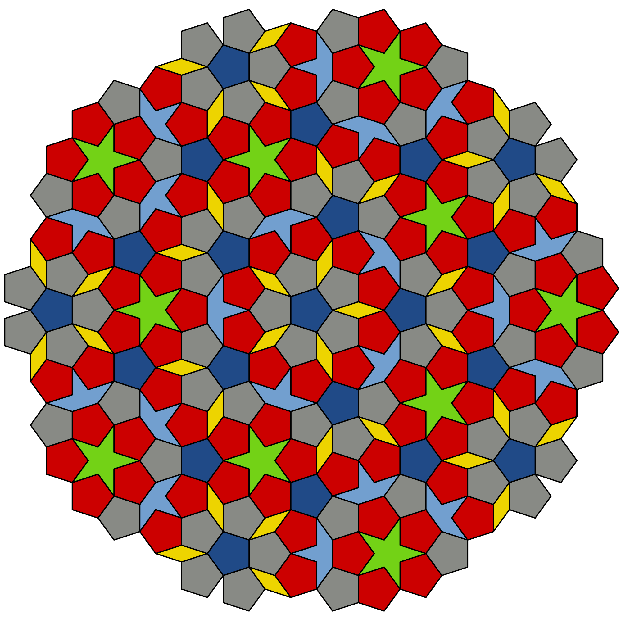 Kptallat a kvetkezre penrose tiles pinterest english a penrose tiling is a non periodic tiling generated by an aperiodic set of prototiles dailygadgetfo Images