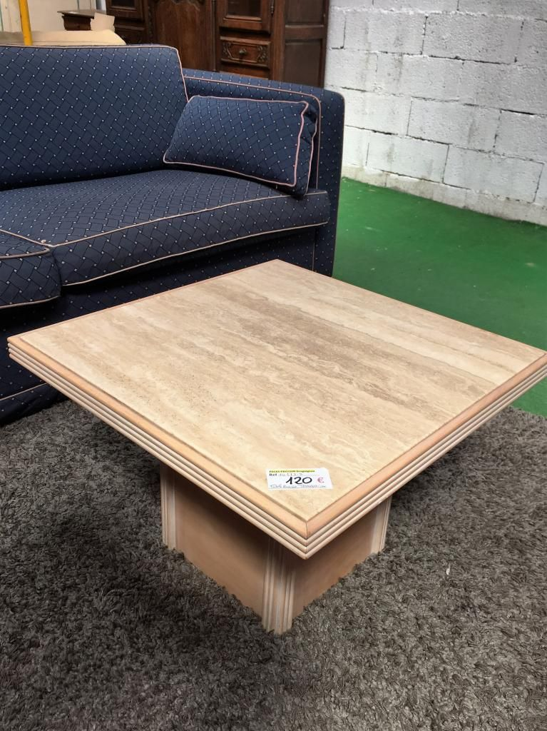 10173.3 TABLE BASSE BOIS ET TRAVERTIN 120€ | Occasion Mobilier ...