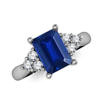 Angara Emerald-Cut Blue Sapphire Ring with Trio Diamonds in Platinum gJnijDi2xM