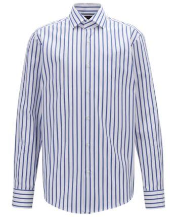 61339848d Boss Men's Gordon Striped Regular-Fit Cotton Shirt - Blue 15.5 in ...