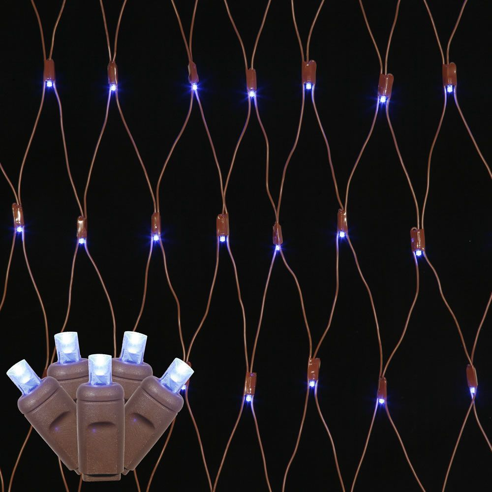 150 blue wide angle net led lights 2ft x8ft brown wire christmas set