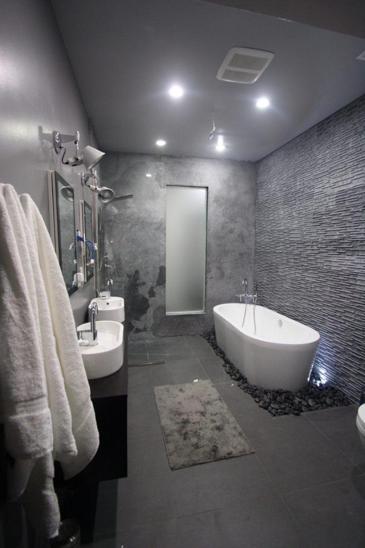 enduit mural salle de bain tendances salle de bains 2015: texture béton et mur à enduit en relief