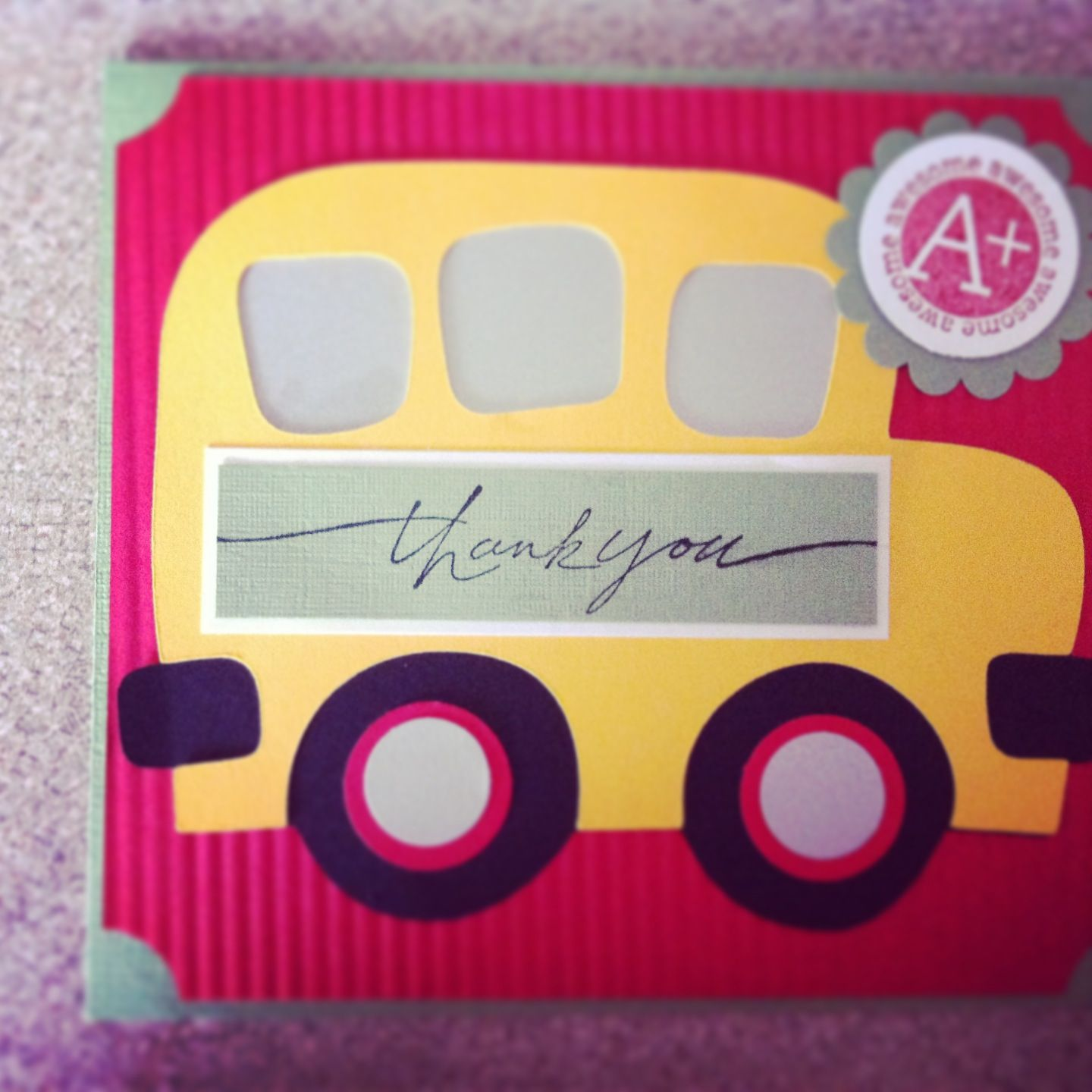 School bus teachers thank you card