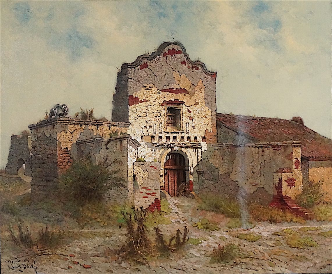 """""""Mission San Diego Alcala"""" by Edwin Deakin. On Display at the Santa Barbara Mission Archive Library. www.fiineartconservationlab.com"""