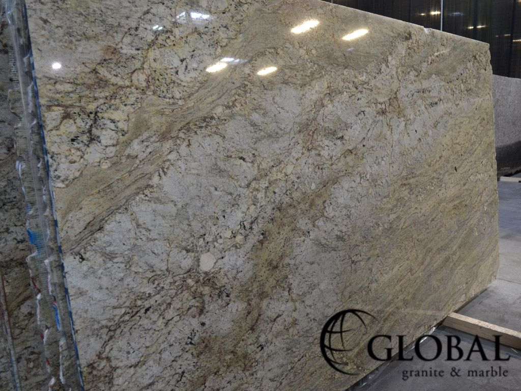 Sunset Cream (Typhoon Bordeaux) polished granite slab ...