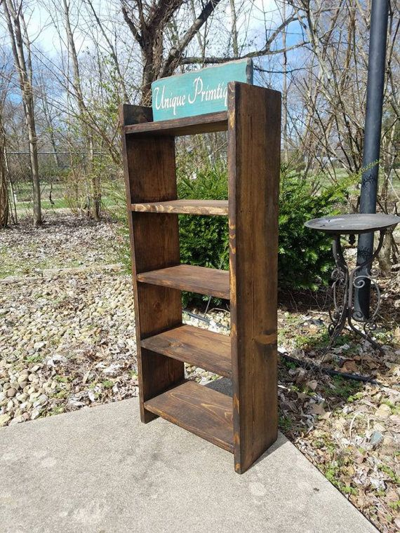 Rustic Wood Ladder Shelf 14w x 35h x7.25d Reclaimed Espresso Stain Stands Alone Or Wall Hang Custom Sizes Colors Towel RACK Jewelry Shelving