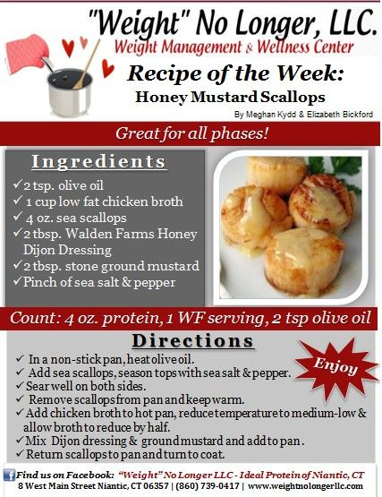 Wednesday's Weekly Recipe:  Try our new recipe for Honey Mustard Scallops! Friendly for all phases! Bon Appétit! #recipeoftheweek #wnl #dinner #scallops #yum #phase1friendly #allphases #weightnolongerllc #healthy #recipe  --- Ideal Protein #idealproteinrecipesphase1dinner
