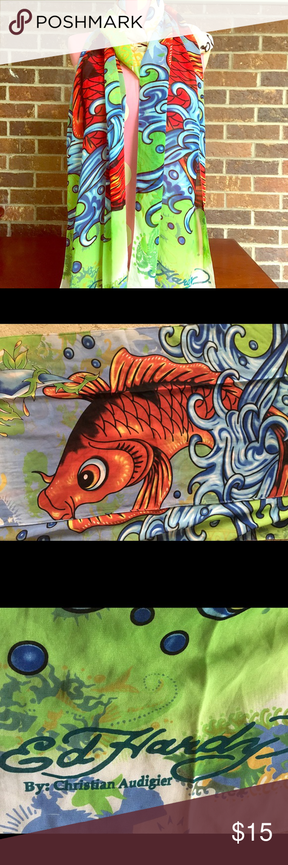 Ed Hardy Koi Fish Scarf | Fish patterns, Koi and Scarf wrap