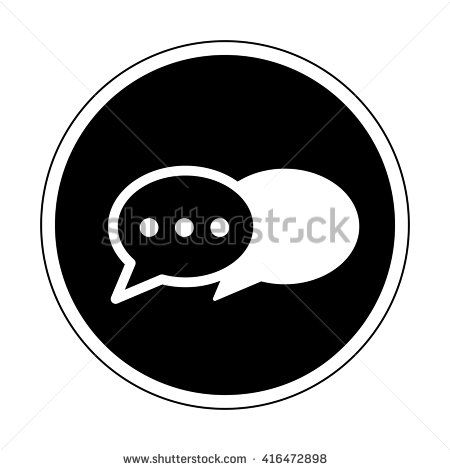 Instant messenger icon black and white - stock vector