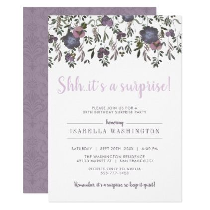 Chic Watercolor Surprise Birthday Party Invitation Birthday Gifts