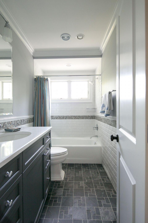 Tiny hall bath, subway tile, dark floors, dark vanity. Classic and ...